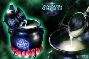 Witches Pouring Cauldron Dry Ice Smoke Effect Backflow Incense with LED Light UK